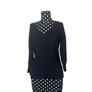 Carlisle V-Neck Black Knit Sweater Size Medium